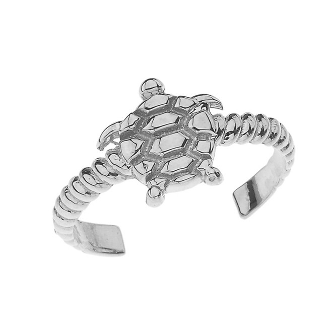 Sea Turtle Rope Toe Ring in White Gold