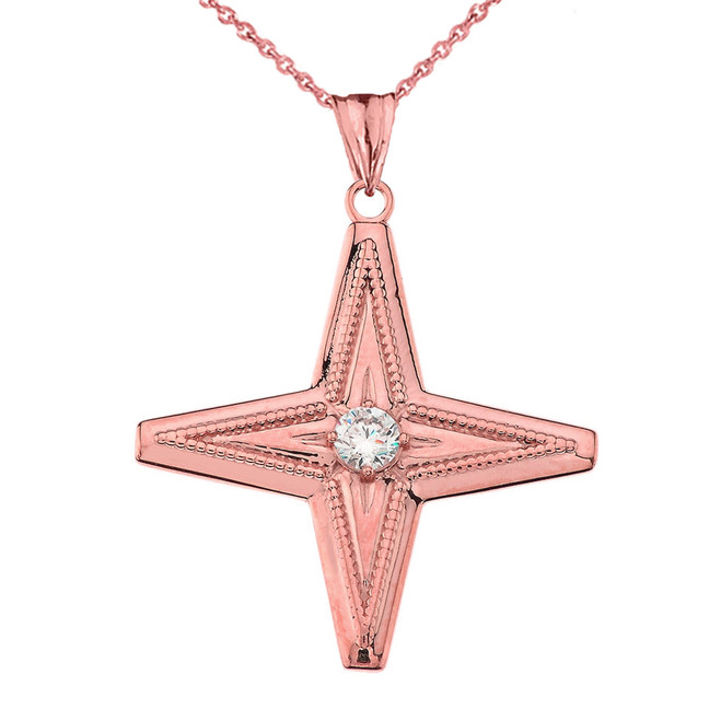 Star of Bethlehem Pendant Necklace in Rose Gold