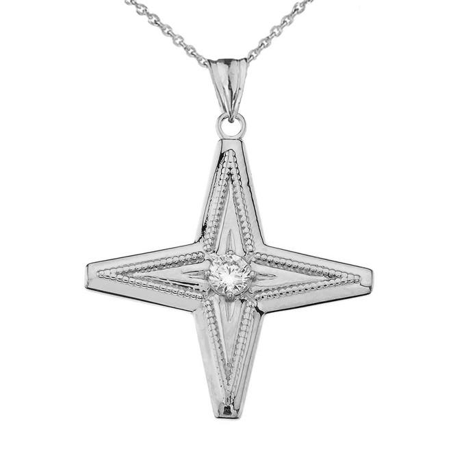 Star of Bethlehem Pendant Necklace in White Gold