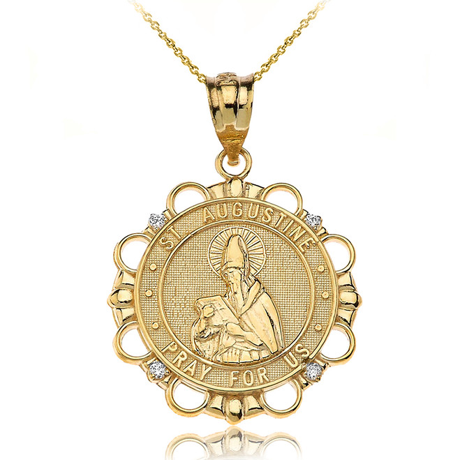 Solid Yellow Gold Diamond Saint Augustine Pray For Us Circle Pendant Necklace