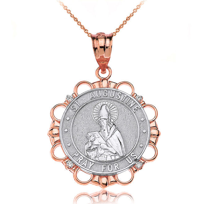 Solid Two Tone Rose Gold Diamond Saint Augustine Pray For Us Circle Pendant Necklace
