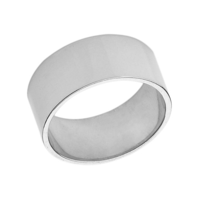 Solid White Gold 10 mm Flat Wedding Band