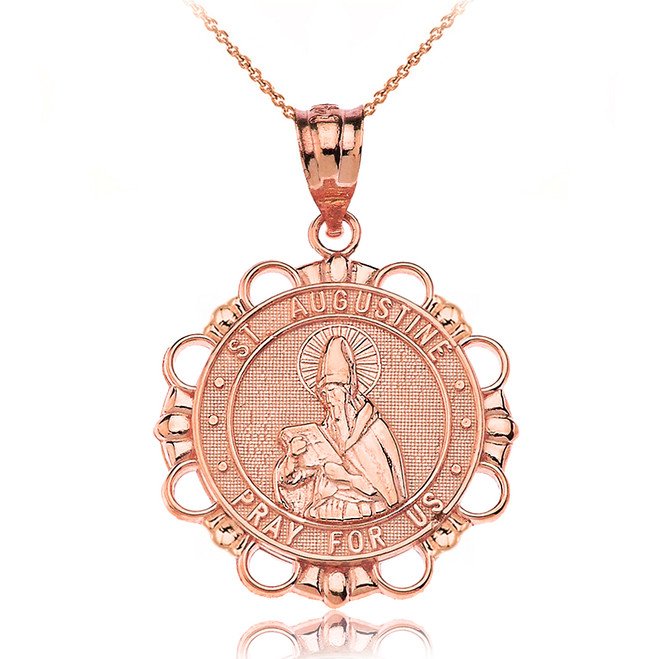 Solid Rose Gold Saint Augustine Pray For Us Circle Pendant Necklace