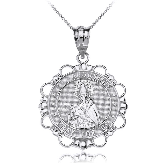 Solid White Gold Saint Augustine Pray For Us Circle Pendant Necklace