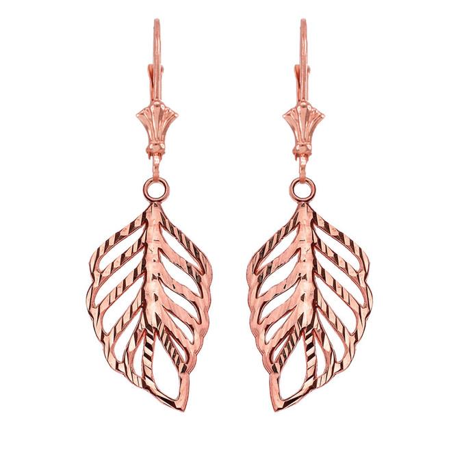 Designer Sparkle Cut Leaf Earrings in Rose Gold