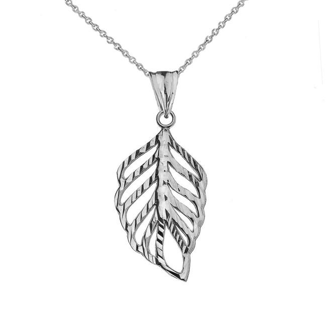 Designer Sparkle Cut Leaf Pendant Necklace in White Gold