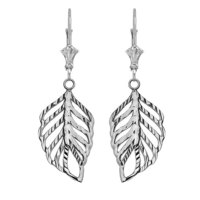 Designer Sparkle Cut Leaf Earrings in White Gold