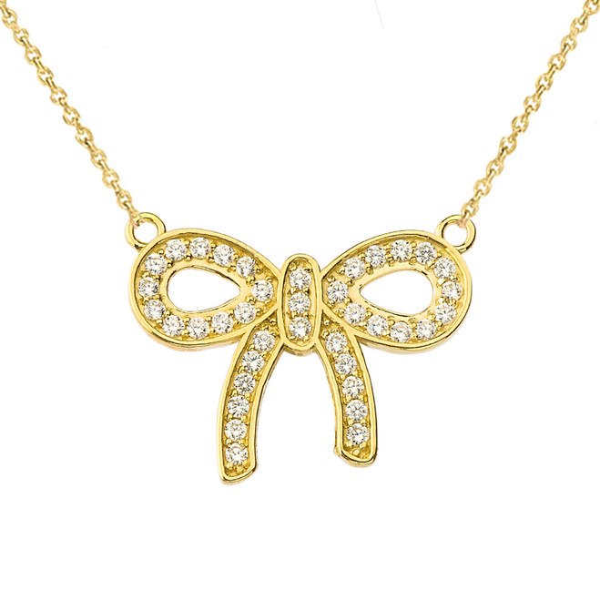 14K Diamond Bow Tie Pendant Necklace