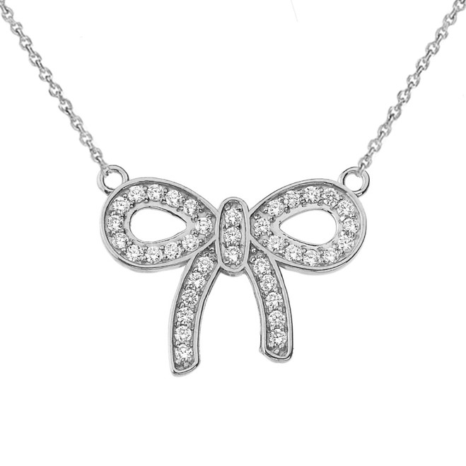 14K Bow Tie Pendant Necklace in White Gold