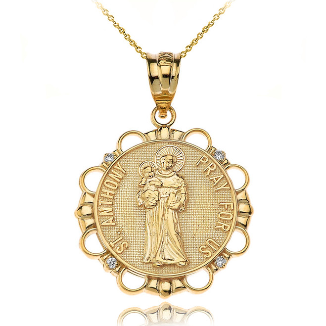 Solid Yellow Gold Diamond Saint Anthony Pray For Us Circle Pendant Necklace