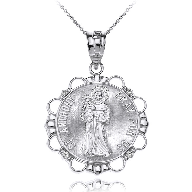 Solid White Gold Diamond Saint Anthony Pray For Us Circle Pendant Necklace