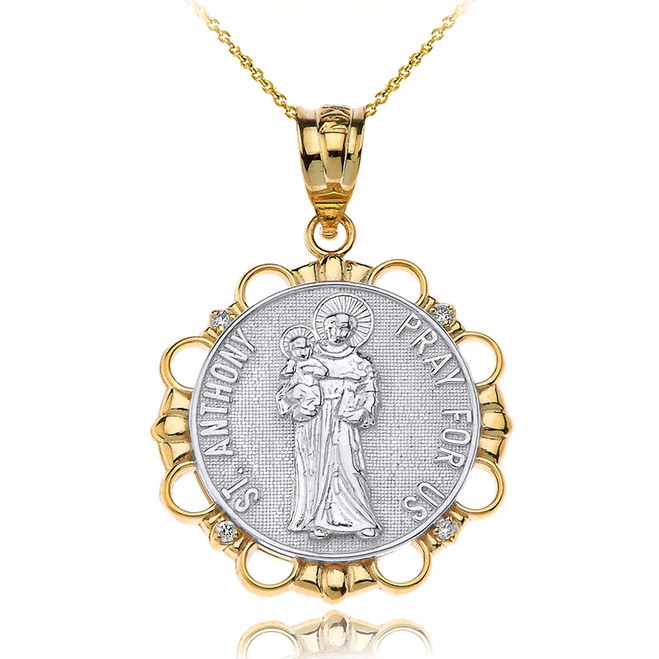 Solid Two Tone Yellow Gold Diamond Saint Anthony Pray For Us Circle Pendant Necklace