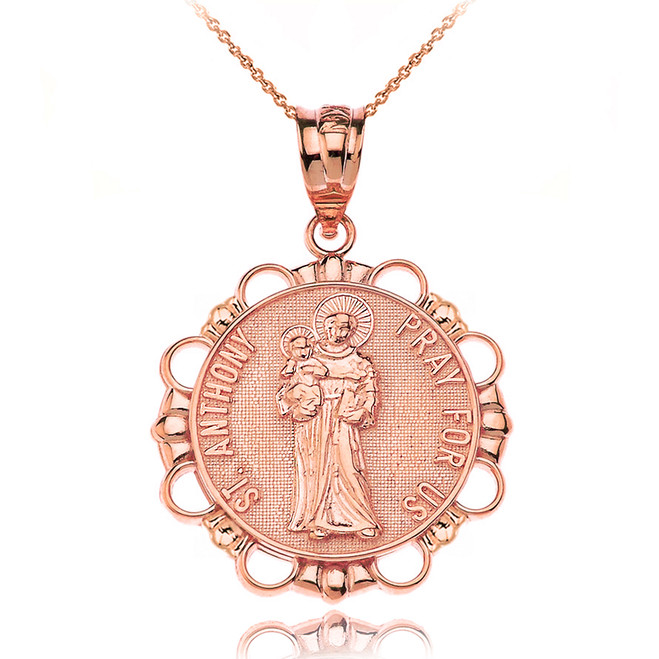 Solid Rose Gold Saint Anthony Pray For Us Circle Pendant Necklace
