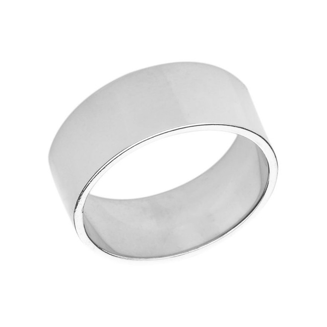 Solid White Gold 9mm Flat Wedding Band