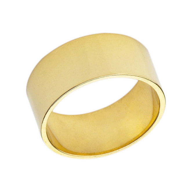 Solid Yellow Gold 8mm Flat Wedding Band