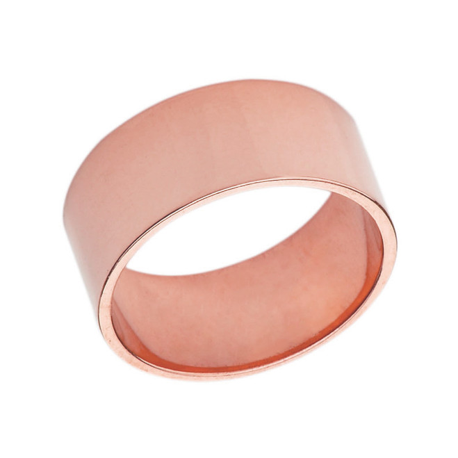 Solid Rose Gold 8mm Flat Wedding Band