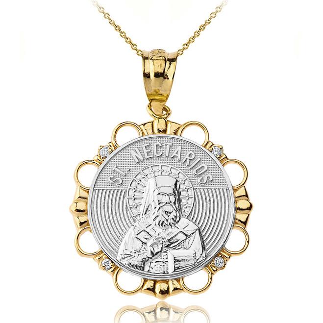 Solid Two Tone Yellow Gold Diamond Saint Nectarios of Aegina Circle Pendant Necklace