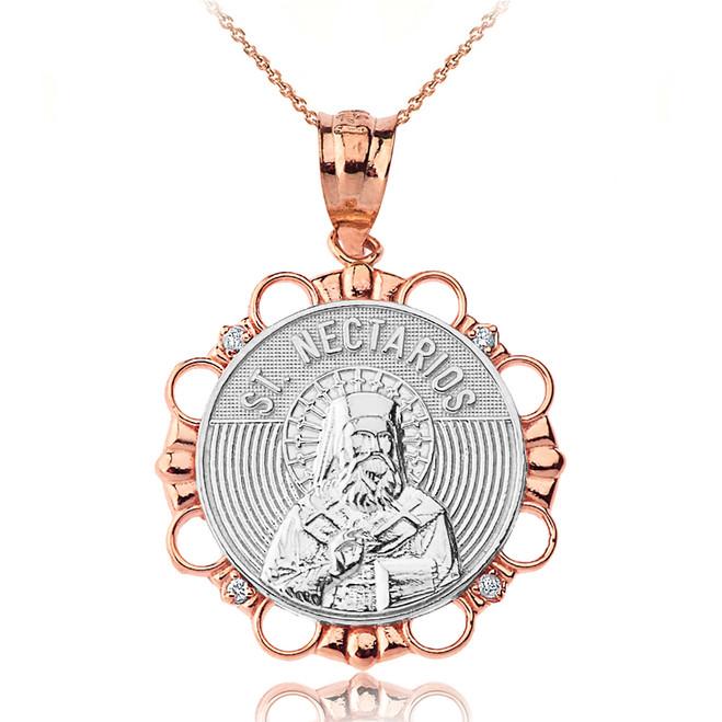 Solid Two Tone Rose Gold Diamond Saint Nectarios of Aegina Circle Pendant Necklace