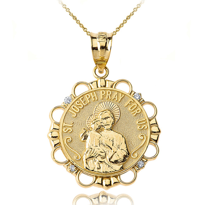 Solid Yellow Gold Diamond Saint Joseph Pray for Us Circle Pendant Necklace