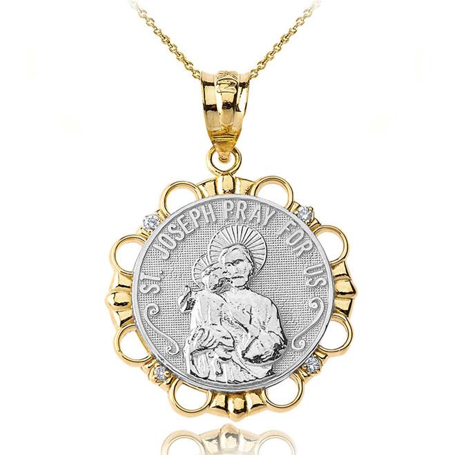 Solid Two Tone Yellow Gold Diamond Saint Joseph Pray for Us Circle Pendant Necklace