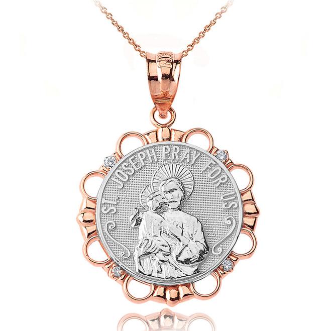 Solid Two Tone Rose Gold Diamond Saint Joseph Pray for Us Circle Pendant Necklace