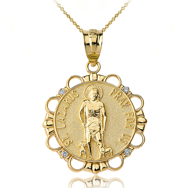 Solid Yellow Gold Diamond Saint Lazarus Pray for Us Circle Pendant Necklace