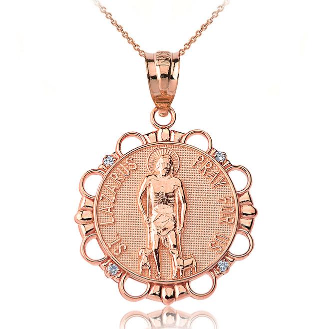 Solid Rose Gold Diamond Saint Lazarus Pray for Us Circle Pendant Necklace