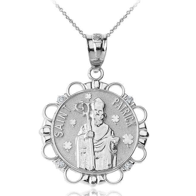 Sterling Silver CZ Saint Patrick Circle Pendant Necklace