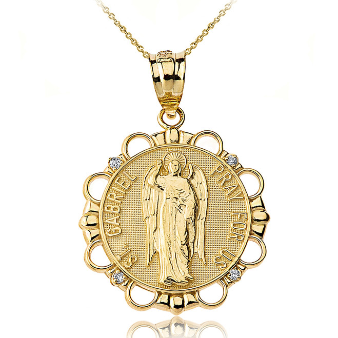 Solid Yellow Gold Diamond Saint Gabriel Pray For Us Circle Pendant Necklace