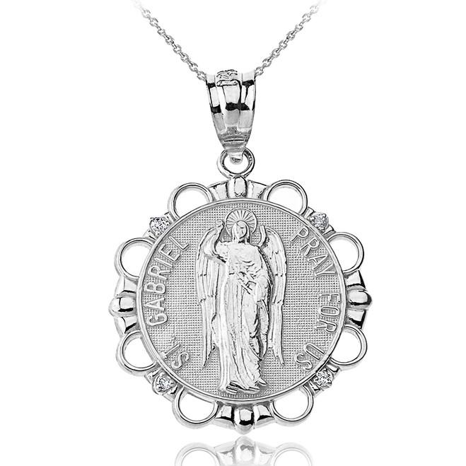 Solid White Gold Diamond Saint Gabriel Pray For Us Circle Pendant Necklace