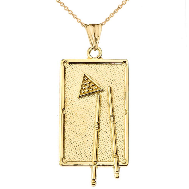 Billiards Pool Table Pendant Necklace in Yellow Gold