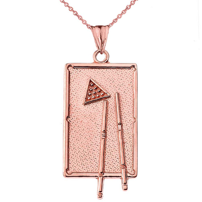 Billiards Pool Table Pendant Necklace in Rose Gold