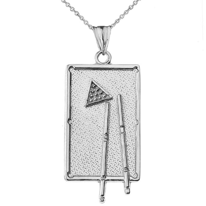 Billiards Pool Table Pendant Necklace in White Gold