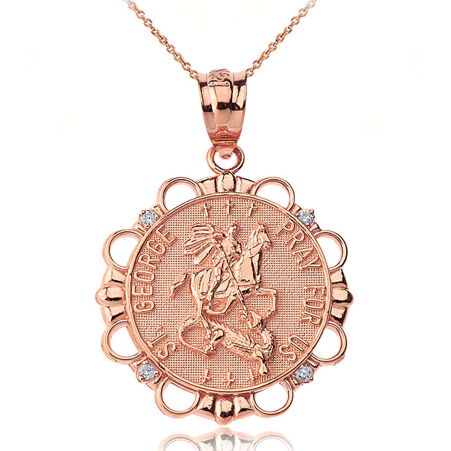 Solid Rose Gold Diamond Saint George Pray For Us  Circle Pendant Necklace