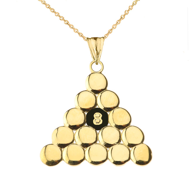 8 Ball Pool Pendant Necklace in Yellow Gold