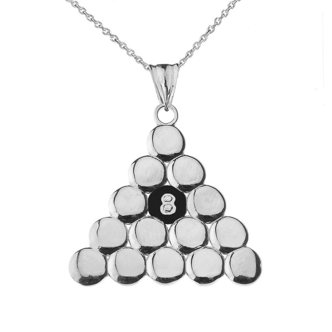 8 Ball Pool Pendant Necklace in White Gold