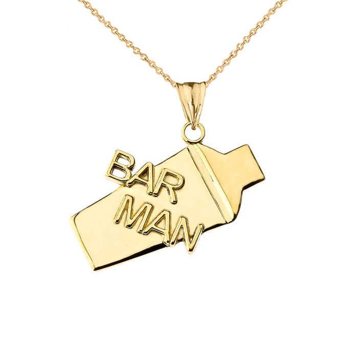 Cocktail Shaker Bar Man Pendant Necklace in Yellow Gold