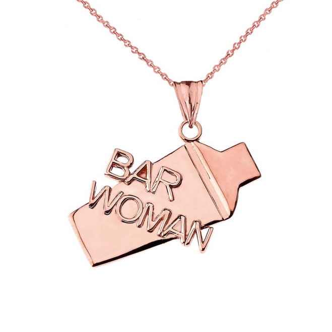 Cocktail Shaker Bar Woman Pendant Necklace in Rose Gold