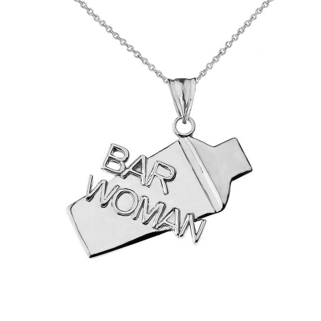 Cocktail Shaker Bar Woman Pendant Necklace in White Gold