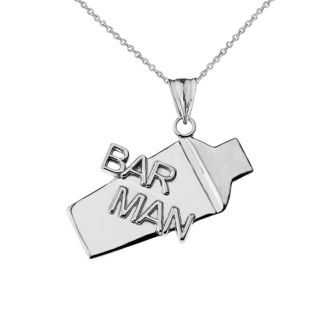 Cocktail Shaker Bar Man Pendant Necklace in White Gold