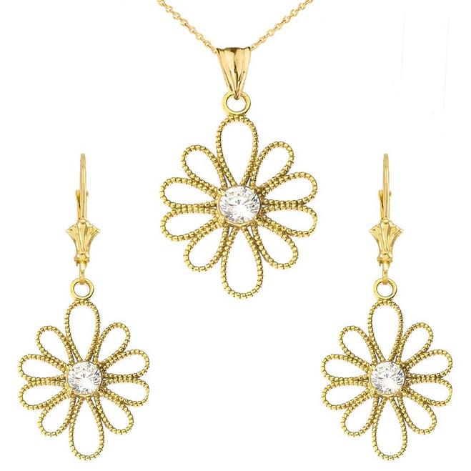 Designer Milgrain Flower Pendant Necklace Set in Yellow Gold