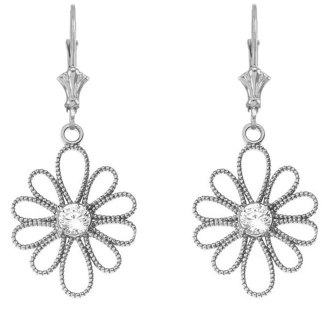 14K Designer Milgrain Flower Earrings in White Gold