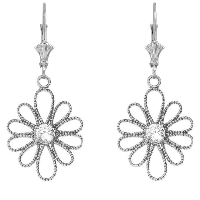 Designer Milgrain Flower Earrings in Sterling Silver