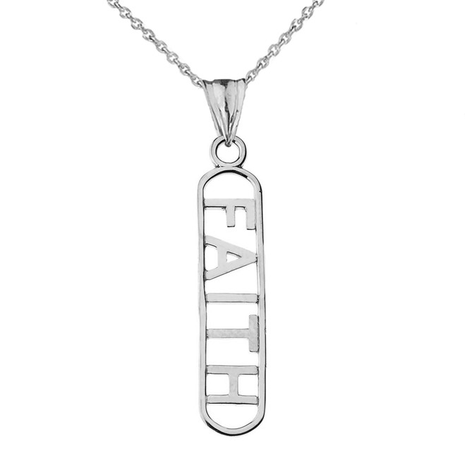 """FAITH"" Pendant Necklace in White Gold"