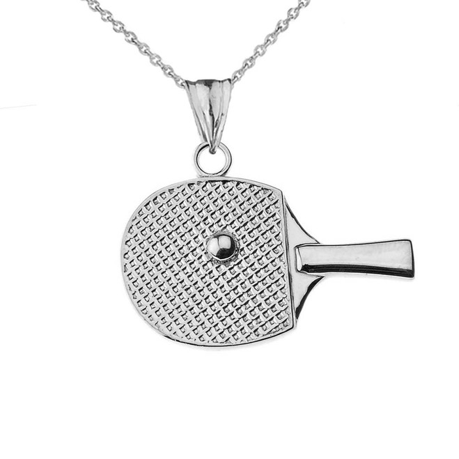 Table Tennis Racket Pendant Necklace in White Gold