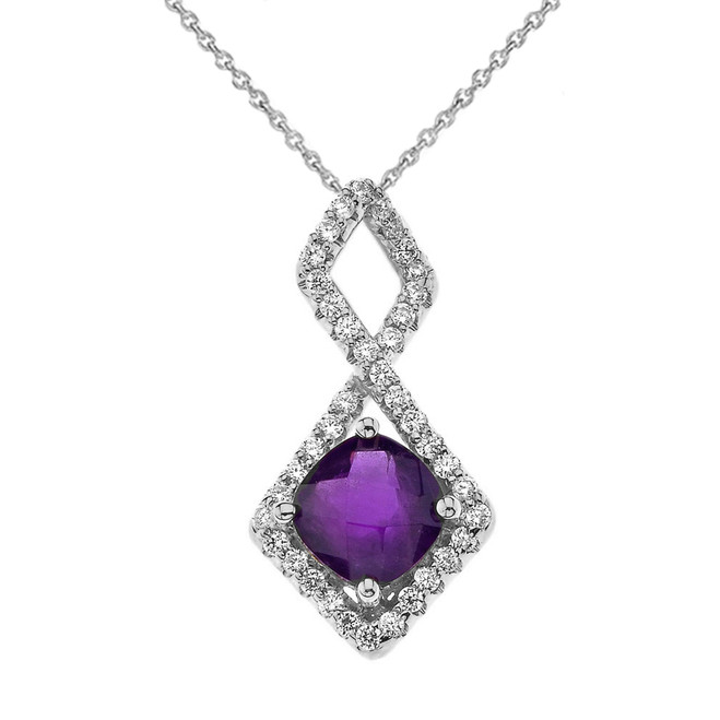 Mod-Chic Infinity Genuine Checkerboard Amethyst Pendant Necklace in White Gold