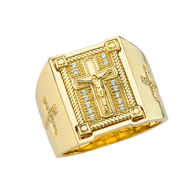 Mens Diamond Cross Ring in Solid Yellow Gold