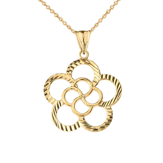 Designer Sparkle Cut Flower Pendant Necklace in Yellow Gold