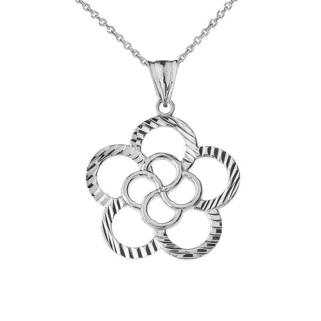 Designer Sparkle Cut Flower Pendant Necklace in White Gold