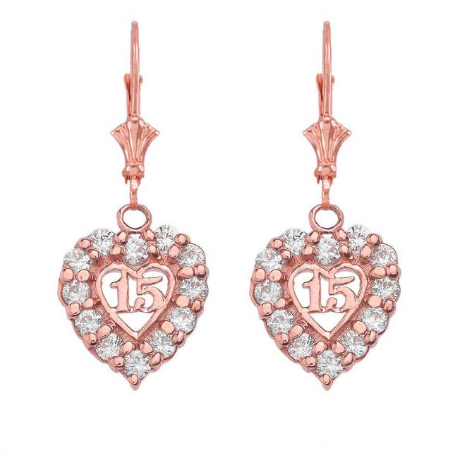 """14K """"15 Años"""" Quinceañera Heart Earrings in Rose Gold"""